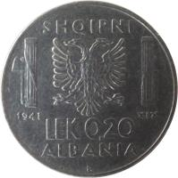 reverse of 0.20 Lek - Vittorio Emanuele III (1939 - 1941) coin with KM# 29 from Albania. Inscription: SHQIPNI 1941 XIX LEK 0.20 ALBANIA R