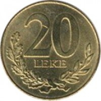 reverse of 20 Lekë - Non magnetic (1996 - 2012) coin with KM# 78 from Albania. Inscription: 20 LEKE