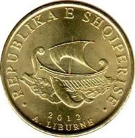 obverse of 20 Lekë - Magnetic (2012) coin with KM# 78a from Albania. Inscription: · REPUBLIKA E SHQIPERISE · 2012 A. LIBURNE