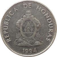 obverse of 50 Centavos (1991 - 2007) coin with KM# 84a from Honduras. Inscription: REPUBLICA DE HONDURAS 1994