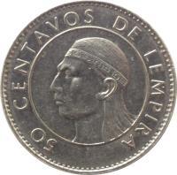 reverse of 50 Centavos (1991 - 2007) coin with KM# 84a from Honduras. Inscription: 50 CENTAVOS DE LEMPIRA