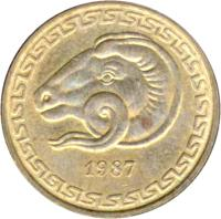 obverse of 20 Centimes - FAO (1987) coin with KM# 118 from Algeria. Inscription: 1987