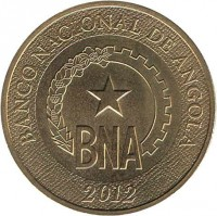 obverse of 1 Kwanza (2012) coin with KM# 108 from Angola. Inscription: BANCO NACIONAL DE ANGOLA BNA 2012