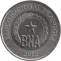 obverse of 50 Centimos - National Bank of Angola (2012) coin with KM# 107 from Angola. Inscription: BANCO NACIONAL DE ANGOLA BNA 2012