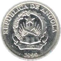 obverse of 1 Kwanza (1999) coin with KM# 97 from Angola. Inscription: REPUBLICA DE ANGOLA 1999