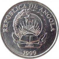 obverse of 2 Kwanzas (1999) coin with KM# 98 from Angola. Inscription: REPUBLICA DE ANGOLA 1999