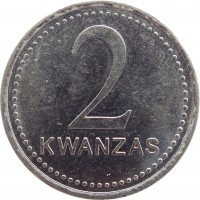 reverse of 2 Kwanzas (1999) coin with KM# 98 from Angola. Inscription: 2 KWANZAS