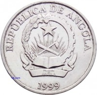 obverse of 5 Kwanzas (1999) coin with KM# 99 from Angola. Inscription: REPUBLICA DE ANGOLA 1999
