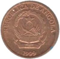 obverse of 10 Centimos (1999) coin with KM# 95 from Angola. Inscription: REPUBLICA DE ANGOLA 1999