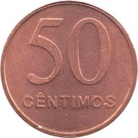 reverse of 50 Centimos (1999) coin with KM# 96 from Angola. Inscription: 50 CENTIMOS