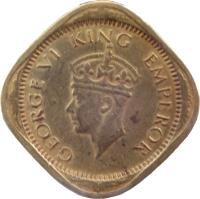 obverse of 1/2 Anna - George VI (1942 - 1945) coin with KM# 534b from India. Inscription: GEORGE VI KING EMPEROR