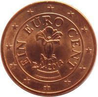 obverse of 1 Euro Cent (2002 - 2015) coin with KM# 3082 from Austria. Inscription: EIN EURO CENT 2013
