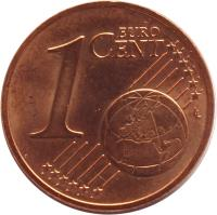 reverse of 1 Euro Cent (2002 - 2015) coin with KM# 3082 from Austria. Inscription: 1 EURO CENT LL