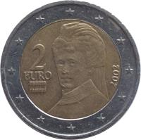 obverse of 2 Euro - 1'st Map (2002 - 2006) coin with KM# 3089 from Austria. Inscription: 2 EURO 2002
