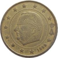 obverse of 50 Euro Cent - Albert II - 1'st Map; 1'st Type; 1'st Portrait (1999 - 2006) coin with KM# 229 from Belgium. Inscription: A II 2002