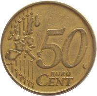 reverse of 50 Euro Cent - Albert II - 1'st Map; 1'st Type; 1'st Portrait (1999 - 2006) coin with KM# 229 from Belgium. Inscription: 50 EURO CENT LL