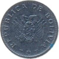 obverse of 10 Centavos (1987 - 2006) coin with KM# 202 from Bolivia. Inscription: REPUBLICA DE BOLIVIA
