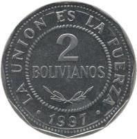 reverse of 2 Bolivianos - Larger (1995 - 2008) coin with KM# 206.2 from Bolivia. Inscription: LA UNION ES LA FUERZA 2 BOLIVIANOS · 2008 ·