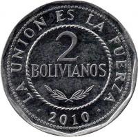 reverse of 2 Bolivianos (2010 - 2012) coin with KM# 218 from Bolivia. Inscription: LA UNION ES LA FUERZA 2 BOLIVIANOS 2010