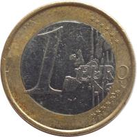 reverse of 1 Euro - 1'st Map (2002 - 2006) coin with KM# 213 from Germany. Inscription: 1 EURO LL