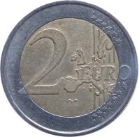 reverse of 2 Euro - 1'st Map (2002 - 2006) coin with KM# 214 from Germany. Inscription: 2 EURO LL