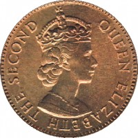 obverse of 5 Cents - Elizabeth II - 1'st Portrait (1973 - 1979) coin with KM# 34 from Belize. Inscription: QUEEN ELIZABETH THE SECOND