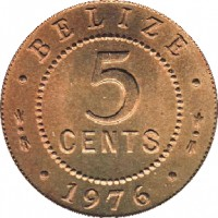 reverse of 5 Cents - Elizabeth II - 1'st Portrait (1973 - 1979) coin with KM# 34 from Belize. Inscription: · BELIZE · 5 CENTS · 1976 ·