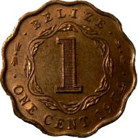 reverse of 1 Cent - Elizabeth II - 1'st Portrait (1973 - 1976) coin with KM# 33 from Belize. Inscription: · BELIZE · 1 · ONE CENT 1973 ·