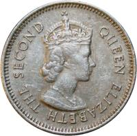 obverse of 10 Cents - Elizabeth II - 1'st Portrait (1974 - 2000) coin with KM# 35 from Belize. Inscription: QUEEN ELIZABETH THE SECOND