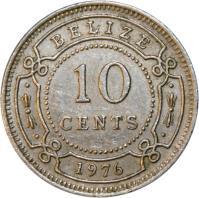 reverse of 10 Cents - Elizabeth II - 1'st Portrait (1974 - 2000) coin with KM# 35 from Belize. Inscription: BELIZE 10 CENTS 2000