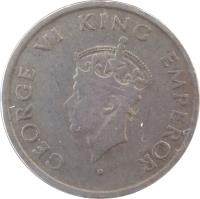 obverse of 1/2 Rupee - George VI (1946 - 1947) coin with KM# 553 from India. Inscription: GEORGE VI KING EMPEROR