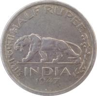 reverse of 1/2 Rupee - George VI (1946 - 1947) coin with KM# 553 from India. Inscription: आधा रुपया HALF RUPEE INDIA 1946