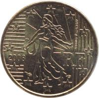 obverse of 10 Euro Cent - 2'nd Map (2007 - 2017) coin with KM# 1410 from France. Inscription: RF 2013 L. JORIO d'ap. O. ROTY