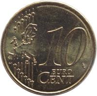 reverse of 10 Euro Cent - 2'nd Map (2007 - 2017) coin with KM# 1410 from France. Inscription: 10 EURO CENT LL