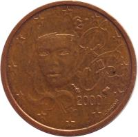 obverse of 2 Euro Cent (1999 - 2017) coin with KM# 1283 from France. Inscription: RF 2000 F. COURTIADE