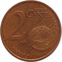 reverse of 2 Euro Cent (1999 - 2017) coin with KM# 1283 from France. Inscription: 2 EURO CENT LL