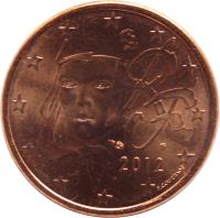 obverse of 5 Euro Cent (1999 - 2017) coin with KM# 1284 from France. Inscription: RF 1999 F. COURTIADE