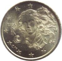 obverse of 10 Euro Cent - 1'st Map (2002 - 2007) coin with KM# 213 from Italy. Inscription: CM RI R 2002
