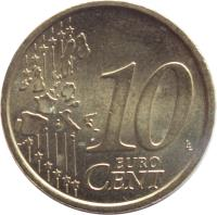 reverse of 10 Euro Cent - 1'st Map (2002 - 2007) coin with KM# 213 from Italy. Inscription: 10 EURO CENT LL