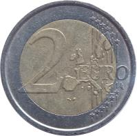 reverse of 2 Euro - 1'st Map (2002 - 2007) coin with KM# 217 from Italy. Inscription: 2 EURO LL