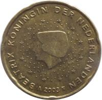 obverse of 20 Euro Cent - Beatrix - 1'st Map (1999 - 2006) coin with KM# 238 from Netherlands. Inscription: BEATRIX KONINGIN DER NEDERLANDEN 2006