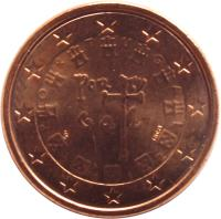 obverse of 1 Euro Cent (2002 - 2015) coin with KM# 740 from Portugal. Inscription: P O R T U G A L POR TV GA L VS INCM 2 0 0 2