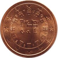obverse of 2 Euro Cent (2002 - 2015) coin with KM# 741 from Portugal. Inscription: P O R T U G A L POR TV GA L VS INCM 2 0 0 2