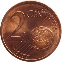 reverse of 2 Euro Cent (2002 - 2015) coin with KM# 741 from Portugal. Inscription: 2 EURO CENT LL