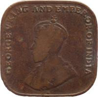 obverse of 1 Cent - George V (1919 - 1926) coin with KM# 32 from Straits Settlements. Inscription: GEORGE V KING AND EMPEROR OF INDIA