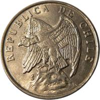 obverse of 50 Centavos (1975 - 1977) coin with KM# 206 from Chile. Inscription: REPUBLICA DE CHILE So