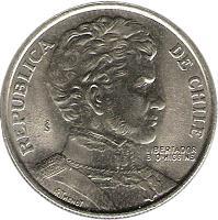 obverse of 1 Peso - LIBERTADOR B. O'HIGGINS (1976 - 1977) coin with KM# 208 from Chile. Inscription: REPUBLICA DE CHILE So LIBERTADOR B. O'HIGGINS