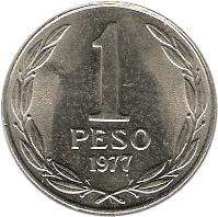 reverse of 1 Peso - LIBERTADOR B. O'HIGGINS (1976 - 1977) coin with KM# 208 from Chile. Inscription: 1 PESO 1977