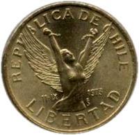 obverse of 5 Pesos (1981 - 1990) coin with KM# 217 from Chile. Inscription: REPUBLICA DE CHILE 11-IX 1973 So LIBERTAD