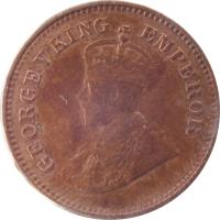 obverse of 1/2 Pice - George V (1912 - 1936) coin with KM# 510 from India. Inscription: GEORGE V KING EMPEROR